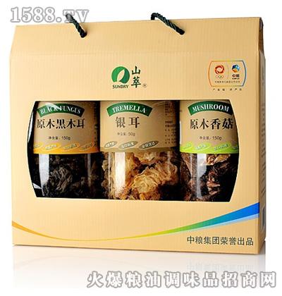 山萃牌食用菌3桶装礼盒