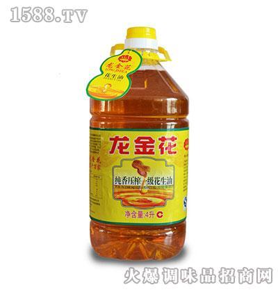 龙金花纯香压榨一级花生油4L