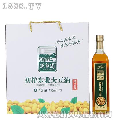 初榨东北大豆油750mlX3瓶-源家园