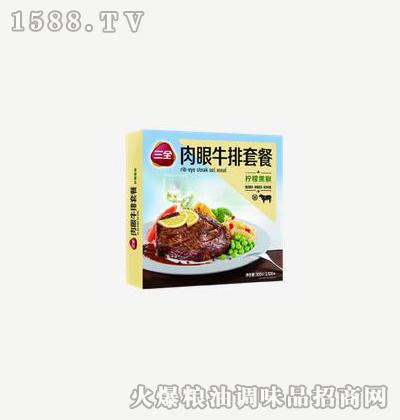 肉眼牛排套餐柠檬黑椒300g-三全