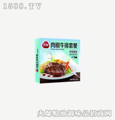 肉眼牛排套餐奶香蘑菇300g-三全