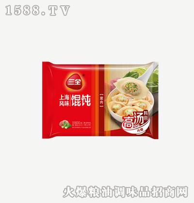 上海风味馄饨菜肉500g-三全