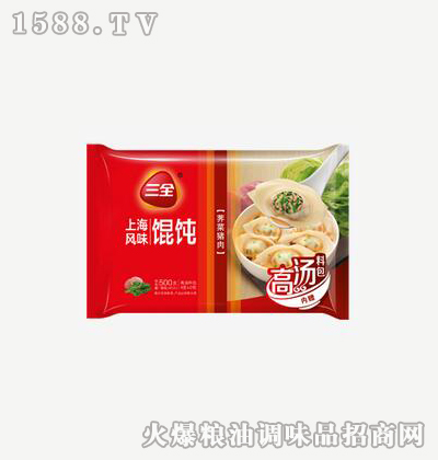 上海风味馄饨荠菜猪肉500g-三全