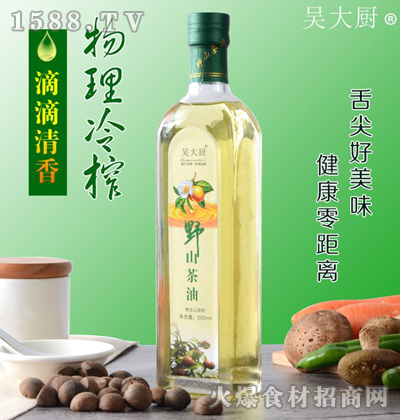 吴大厨野山茶油500ml瓶装