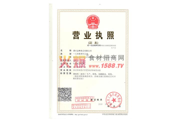 营业执照-漯河益峰食品有限公司