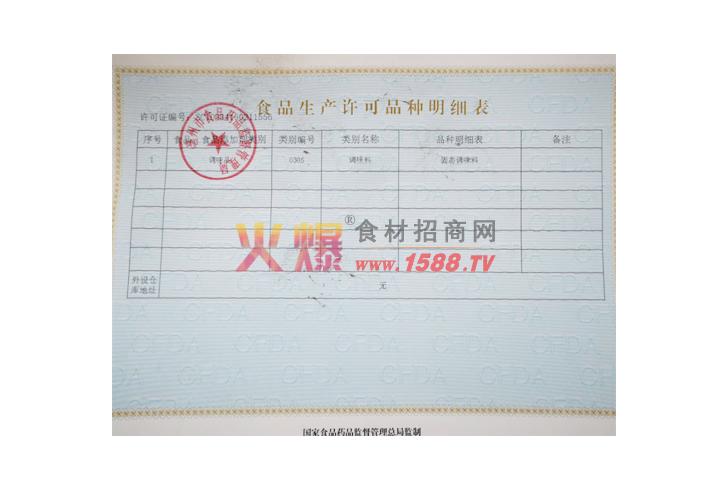 食品生产许可品种明细表-安徽金亿调味品有限公司
