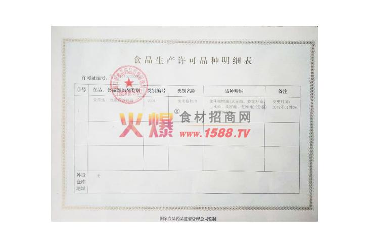 食品生产许可品种明细表
