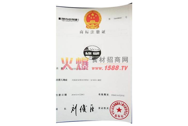 商标注册证(绿翠)